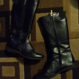 CutePair of BlackFaux Leather Knee High Boots 8.5